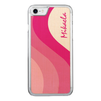 Simply Pink Striped Carved iPhone 7 Case