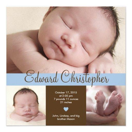Simply Precious Birth Announcement - Blue