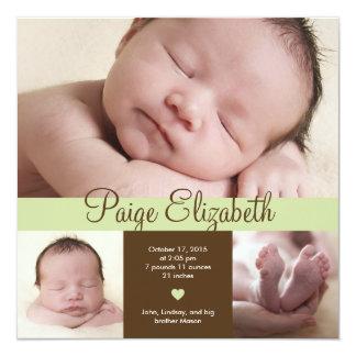 Simply Precious Birth Announcement - Green