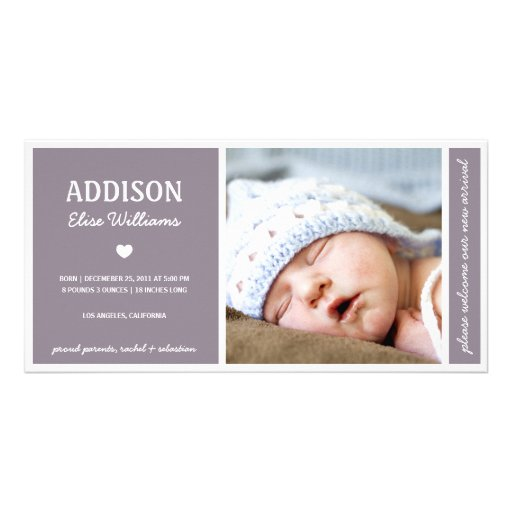 SIMPLY PURE BABY GIRL BIRTH ANNOUNCEMENT Photo Card