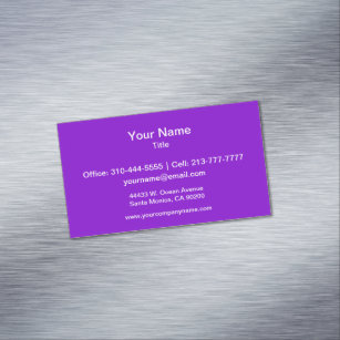 Solid color business cards templates zazzle simply purple solid color magnetic business card reheart Image collections