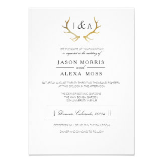 Simply Rustic Gold Antler | Elegant Wedding Card