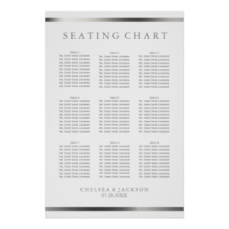 Simply Silver and White  - 9 Seating Chart