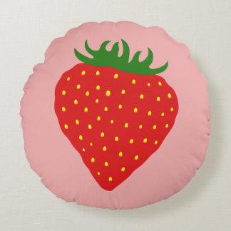 Simply Strawberry custom cushion Round Pillow