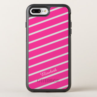 Simply Stripes pink + your backgr. & Name OtterBox Symmetry iPhone 7 Plus Case
