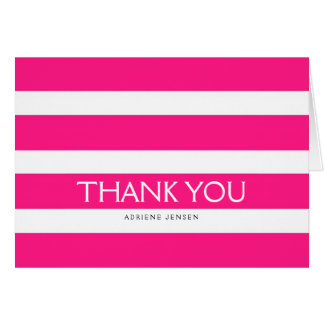 Simply Stripes Thank You Note Card / Pink