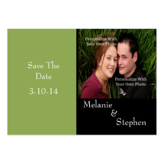 Simply Stunning Nature Green Photo Save The Date Large Business Cards (Pack Of 100)