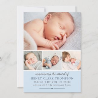 Simply Sweet | Blue Baby Boy Photo Collage Birth Announcement