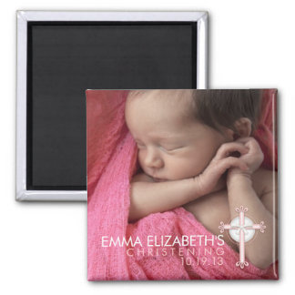 Simply Sweet Cross Christening Photo Keepsake 2 Inch Square Magnet