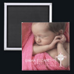 """Simply Sweet Cross Christening Photo Keepsake Magnet<br><div class=""""desc"""">A beautiful design that creates a lovely keepsake for family and friends of your baby girl&#39;s special day. Features a full photo of baby and accented by a delicate pink cross in the corner.  Perfect for any religious celebration including baptism,  christening,  first communion or confirmation.</div>"""