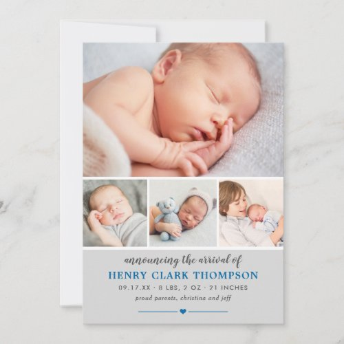 Simply Sweet  Gray Baby Boy Photo Collage Birth Announcement