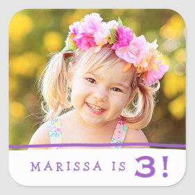 Simply Sweet Personalized Photo Birthday Stickers