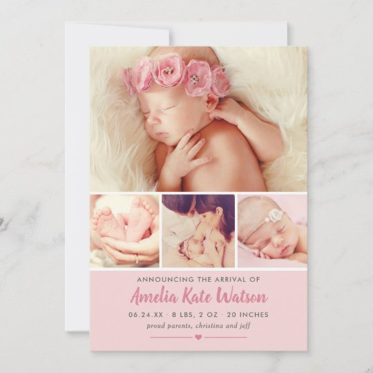 Simply Sweet Pink Baby Girl Photo Collage Birth Announcement