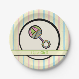 Simply Sweet Rattle Baby Shower Paper Plates 7 Inch Paper Plate