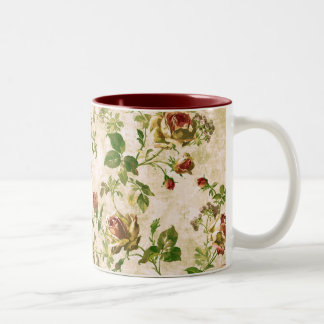 Simply Vintage Cottage Cabbage Roses Two-Tone Coffee Mug