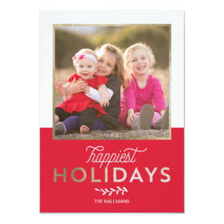 Simply Vintage Holiday Photo Card - Faux Foil
