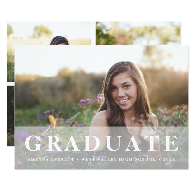 Simply White | Multi Photo Graduation Announcement