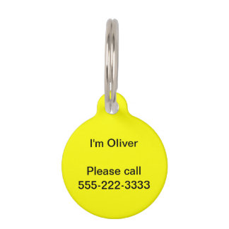 Simply Yellow Solid Color Pet Tag