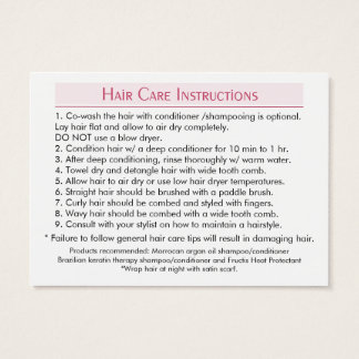 Simplybella-Hair-Care-Instructions Business Card