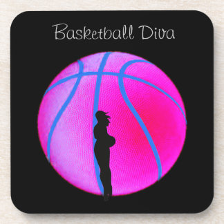 SimplyTonjia B-Ball Diva on Black Cork Coaster