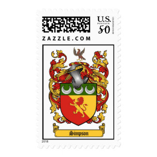 Simpson Family Crest Coat of Arms US postage Stamp