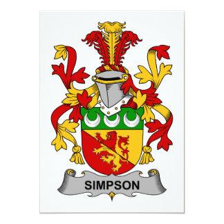 Simpson Family Crest 5x7 Paper Invitation Card