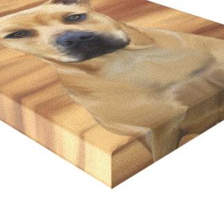 Simulación de la pintura de aceite de Terrier de p Impresión En Lienzo Estirada