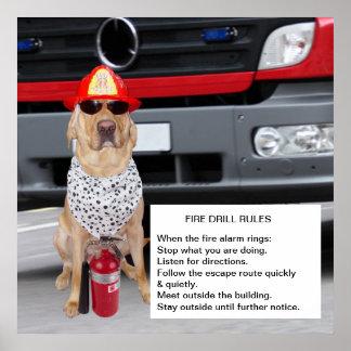 Simulacro de incendio adaptable póster