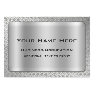 Simulated Diamond Cut Steel Plate Professional Large Business Card