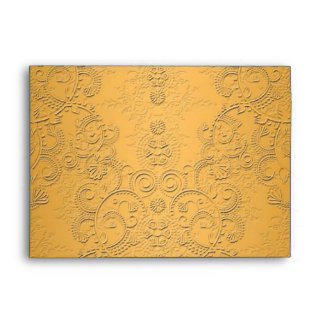 Simulated Gold with Embossed Ornate Design Envelope