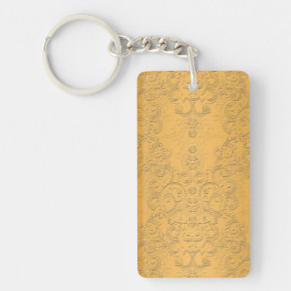 Simulated Gold with Embossed Ornate Design Keychain