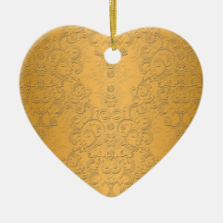Simulated Gold with Embossed Ornate Design Double-Sided Heart Ceramic Christmas Ornament