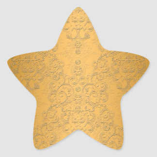Simulated Gold with Embossed Ornate Design Star Sticker