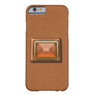Simulated Orange Leather And Gemstone iPhone6 Case Barely There iPhone 6 Case