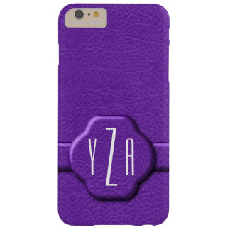 Simulated Purple Leather 3 Letter Monogram Case Barely There iPhone 6 Plus Case