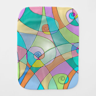 Simulated Stained Glass Colorful Design Burp Cloth