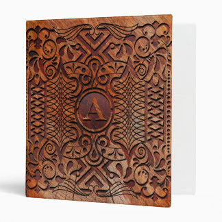 Simulated Wood Carving Monogram A-Z ID446 3 Ring Binder