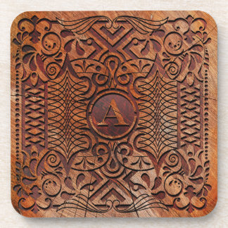 Simulated Wood Carving Monogram A-Z ID446 Drink Coaster