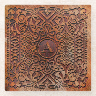 Simulated Wood Carving Monogram A-Z ID446 Glass Coaster
