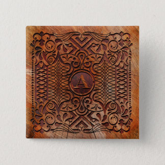 Simulated Wood Carving Monogram A-Z ID446 Pinback Button