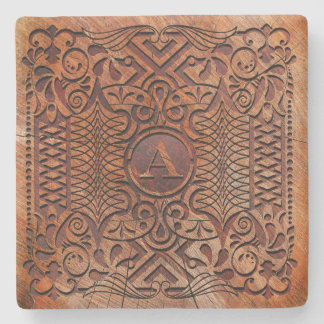 Simulated Wood Carving Monogram A-Z ID446 Stone Coaster