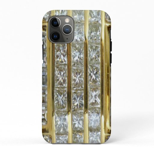 Simulated Yellow Gold and Diamonds iPhone 11 Pro Case