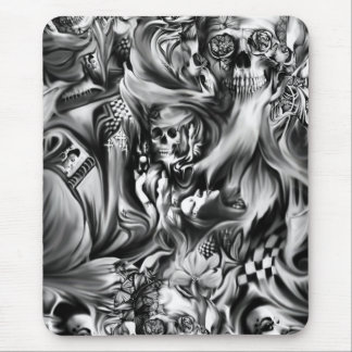 Sin and smoke melting skulls mouse pad