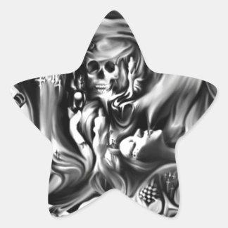 Sin and smoke melting skulls star sticker