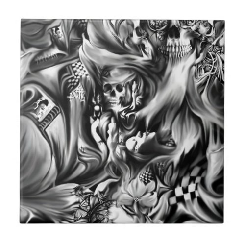 Sin and smoke melting skulls tile