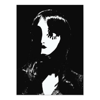 Sin City Style Woman - On Black Background Custom Announcements