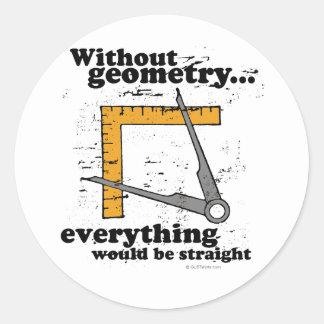 Sin geometría, todo sería recto pegatina redonda