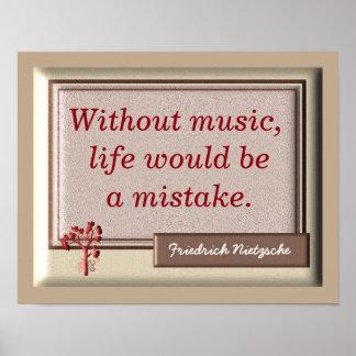 Sin la música II - cita de Nietzsche - impresión Póster