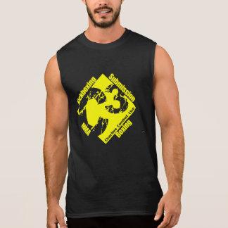 Sin mangas negro C3 con el logotipo amarillo del g Camisetas