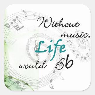 Sin música, la vida Bb… Pegatinas Cuadradases